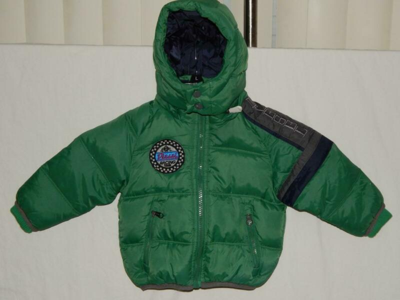 New DIESEL Infant Boys Green Down Filled Hooded Puffer Jacket Size 12 Months