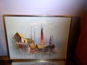 original-impressionism-oil-painting-on-board-ocean-resting-boats-Seascape