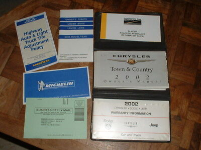 Chrysler Town Country Warranty (2002 Chrysler Town & Country Owners Manual & Warranty Information w/Case )