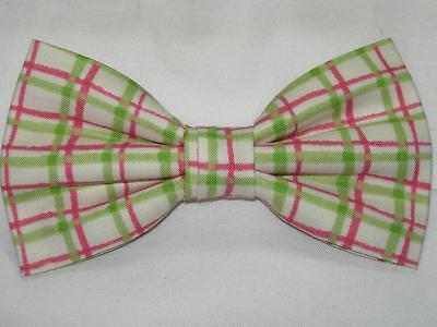 Watermelon Plaid Bow tie / Lime Green & Pink Plaid on Ivory / Pre-tied Bow tie (Watermelon Bow Tie)