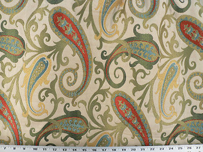 Woven Paisley Scroll - Drapery Upholstery Fabric Woven Jacquard Paisley Scrolls - Gold / Ivory