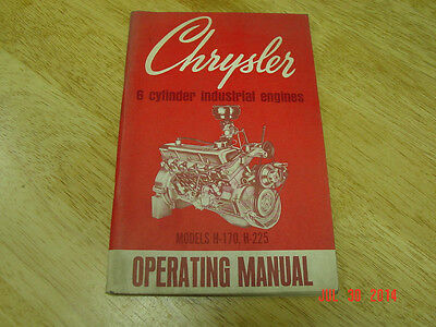 Vintage Chrysler H-170 H-225 Industrial Engine Operating Manual Oem Lqqk