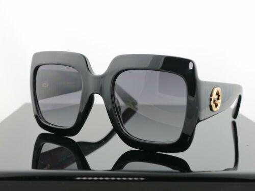 Gucci GG0053S Black / Grey Lens Square Women Oversized Sunglasses 100% UV