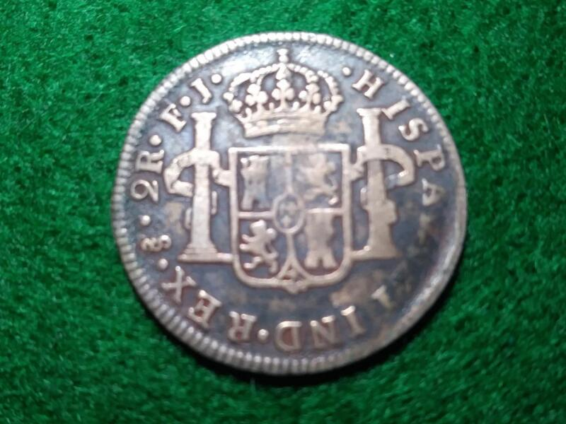 CHILE - 1815 FJ Ferdinand VII silver 2 Reales - old cleaning - FINE