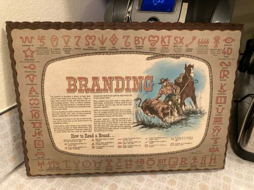 """Vintage Western Cowboy Cattle Branding Sampler """"How to Read a Brand"""" Wood Plaque"""