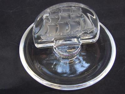 Lalique French Crystal  Ring  Pin Tray with Ship  Design Art Glass  Vintage Lalique Pin Tray