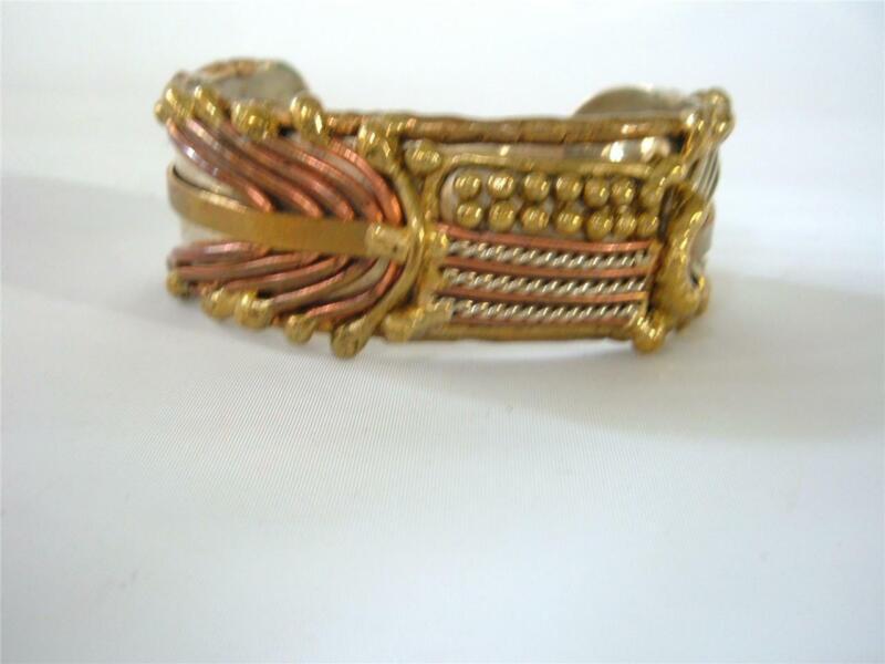 Vintage Mixed Metals Brutalist Modernist Cuff Bracelet Artisan USA Flag ? Unisex