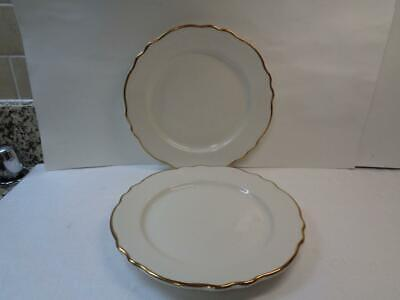 2 Homer Laughlin Best China Scallop Edge Dinner Plates Restaurant ware Gold
