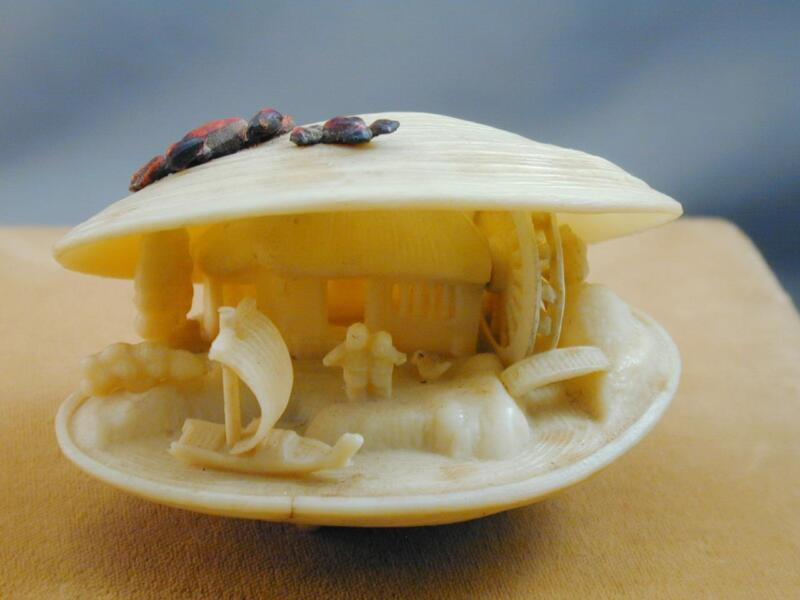Vintage Carved Celluloid Clam Shell Netsuke Style Asian Japanese