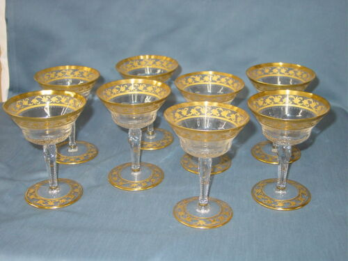 St. Louis Crystal Callot Gold Etched Champagne Sherbert Glasses Set Of 8