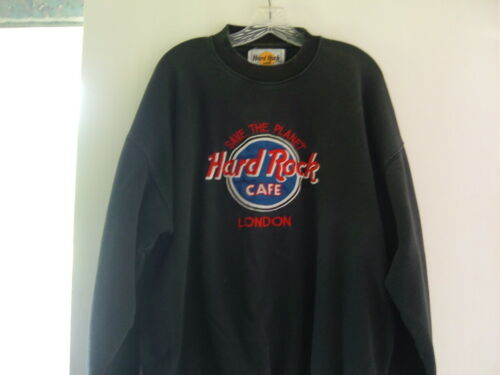 "Vintage ""HARD ROCK CAFE LONDON"" Pull-Over Crewneck Sweater Black Size L"