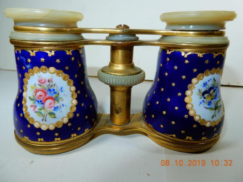 Antique 19th c. Opera Glasses Binoculars  Sevres Style Blue & Gold French Enamel