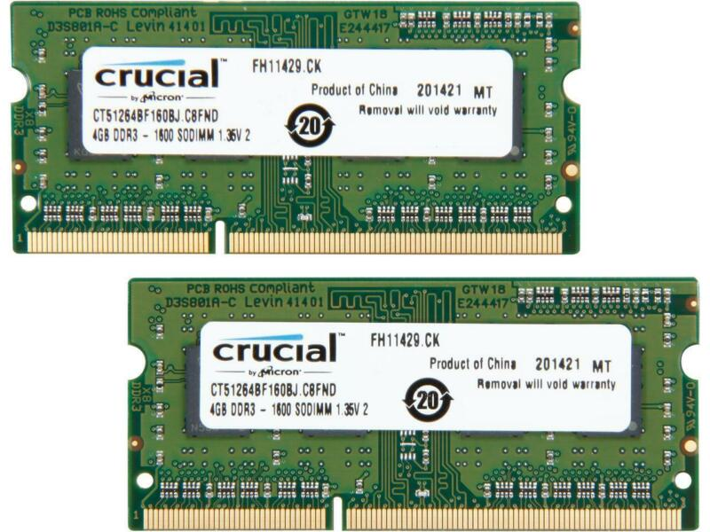 Crucial 2-Pack 4GB 1.6GHz PC3-12800 DDR3L SO-DIMM Unbuffered Non-ECC Laptop Memory Kit CT2KIT51264BF160BJ