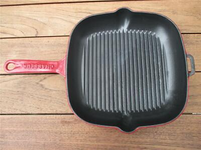 CHASSEUR Square RED Enamelled Skillet Fry Pan Heavy Duty Cast Iron Satin Finish Chasseur Cast Iron Fry Pan