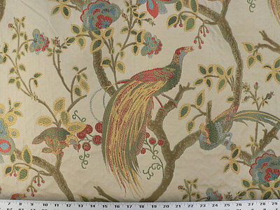 Drapery Upholstery Fabric Birds and Berries Embroidered Jacquard - Gold Multi