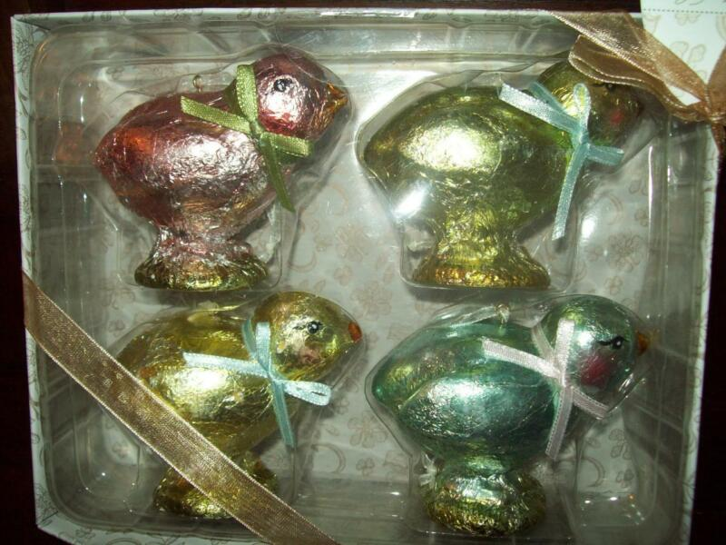 New SET of 4 FOILED FAKE CHOCOLATE EASTER CHICKEN ORNAMENTS  w loop for hang