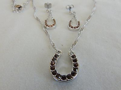 Montana Silversmith's Brown Topaz Horseshoe Western Necklace and Earrings Set