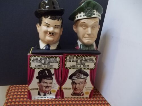 LAUREL & HARDY WHISKEY BOTTLES FROM 1976 FROM EZRA BROOKS + ORIGINAL BOXES