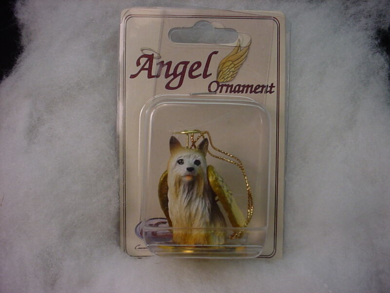SILKY TERRIER dog ANGEL Ornament HAND PAINTED Resin FIGURINE Christmas puppy NEW