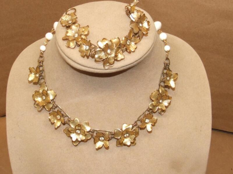 Vintage Art Nouveau Celluloid Caged Flowers Rhinestone Necklace Bracelet Set