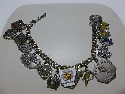 ABWA AMERICAN BUSINESS WOMEN'S ASSOCIATION STERLING SILVER CHARM BRACELET OLD!