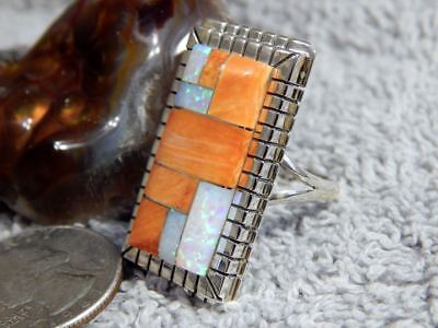 Ladies Sterling Silver Spiny Created Opal  Inlay Ring Navajo Ray Jack Size 9 3/4