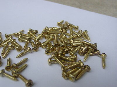 """200 Brass Plated SMALL Wood Screw Size #2 x 3/8"""" Round Head Phillips QTY 200"""