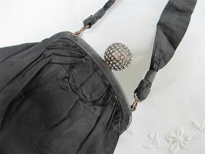 1930s Handbags and Purses Fashion Vintage 1930s Bag Purse Ladies Black Satin Rhinestone Ball Clasp Evening 30s $48.18 AT vintagedancer.com