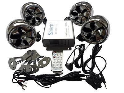 shark SHKC6800 1000watt 4ch motorcycle audio system w/ 2 remotes,FM, SD,USB cr