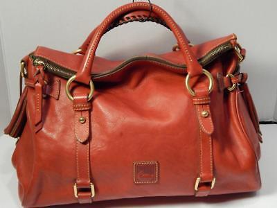 DOONEY & BOURKE FLORENTINE Red Leather Tassel Satchel Tote Shoulder Purse Bag