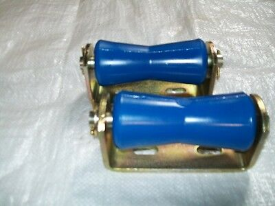2-125mm BLUE  Vee Keel Roller and Bracket for Boat Trailer 19mm Spindle