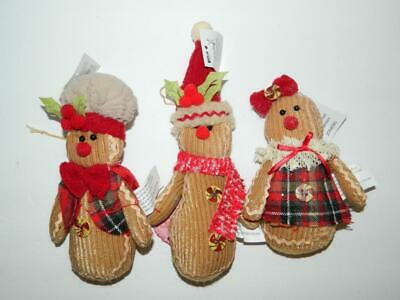 Gingerbread Man Ornaments Xmas Decorations Men Family Set/3 Fabric Plush Holly ()