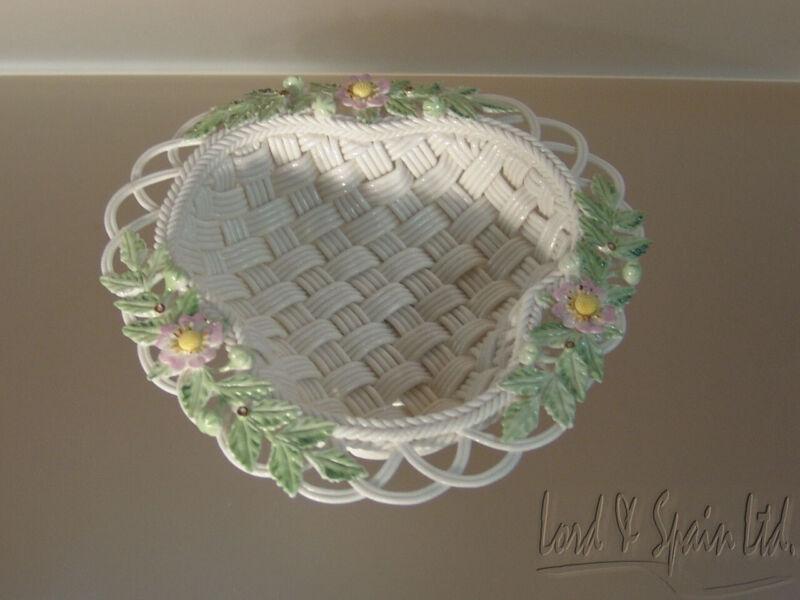 Belleek 2000 Annual 4 Strand Triangular Basket/Bowl-Ltd Ed Strawberry