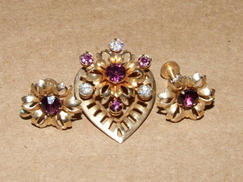 Vintage 50s Atomic Purple Rhinestone Heart Floral Flower Pin Brooch Earrings Set
