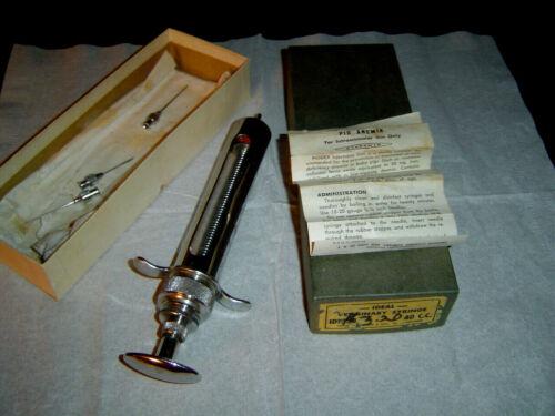 Vtg 105-B IDEAL SUPER Metal Plunger Veterinary Syringe Pet Antique Medical w/Box