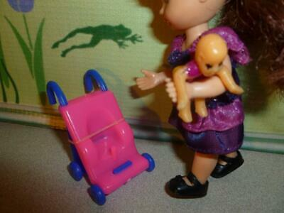 BARBIE KELLY  DOLL SIZE TOY  DOLLHOUSE - MINIATURE STROLLER & BABY DOLL