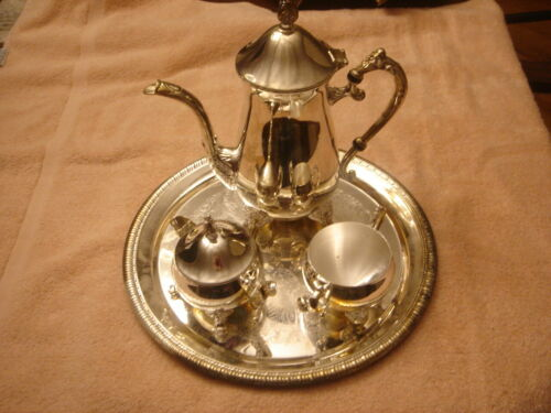 INTERNATIONAL SILVER CO. HAND CRAFTED 4 PC. SILVER PLATED TEA/COFFEE SET