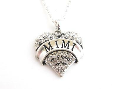 Mimi Grandma Grandmother Silver Chain Necklace Clear Rhinestone  Heart Jewelry