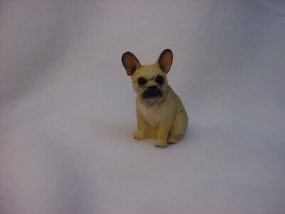FRENCH BULLDOG fawn brown puppy TiNY DOG Figurine HAND PAINTED MINIATURE Statue