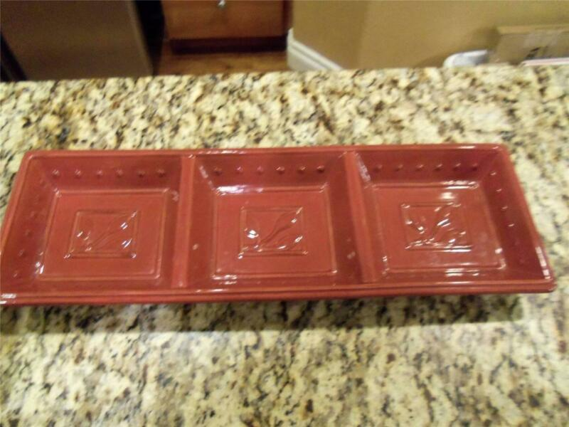 Signature Sorrento Debby Segura burgundy/beaujolais 3-section tray/platter mint!
