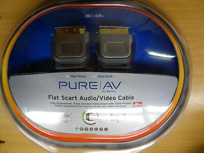 Flat Scart Cable 4.9m 16ft long Audio/Video Belkin Pure AV Gold DTS screened