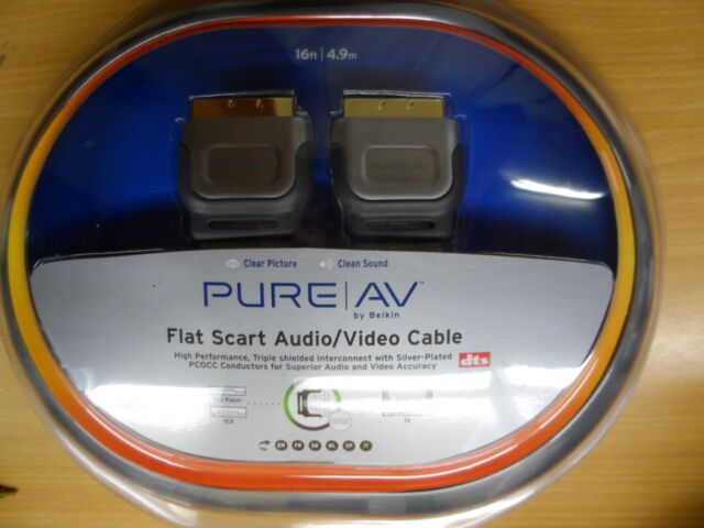 3x Flat Scart Cable 4.9m 16ft long Audio/Video Belkin Pure AV Gold DTS screened