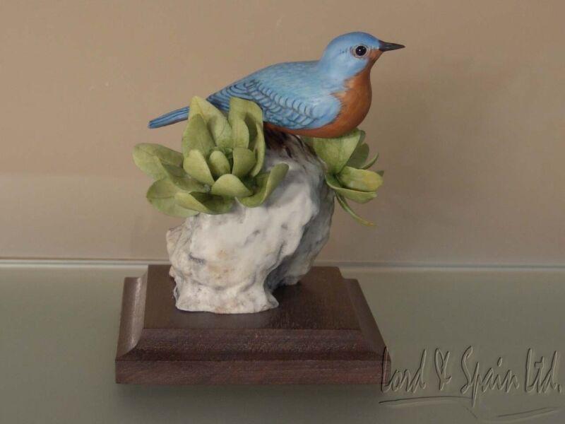 M.E. Moussalli Matte EASTERN BLUE BIRD Porcelain Bird Sculpture/Figurine-#483