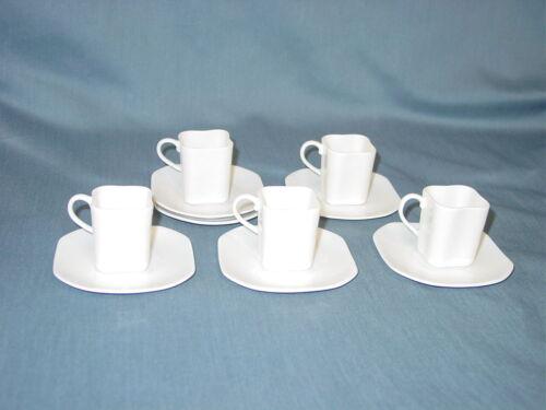 5 Vintage MCM Richard Ginori White Espresso Demitasse Cups & Saucers