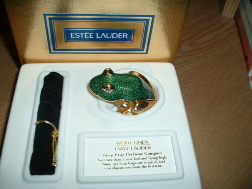 "Estee Lauder Solid Perfume Compact ""Leap Frog"" MIB"