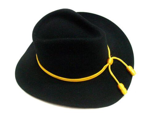 Mens Civil War frontier western Old West fedora BLACK Cavalry wool felt hat