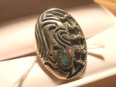 #4505,Estate Native American Turq/Silver Ornate Geometrical Design Ring ()