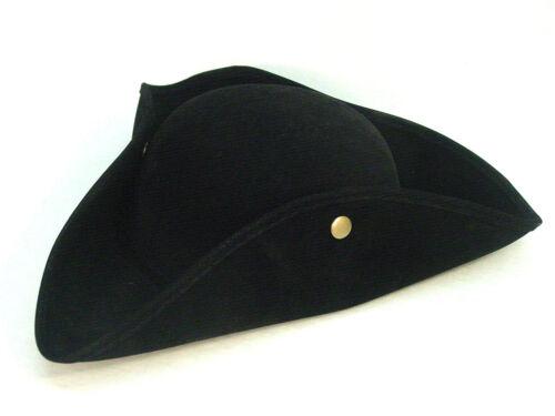 Tricorn Pirate Outlander Revolutionary War Poldark Colonial Black faux suedehat