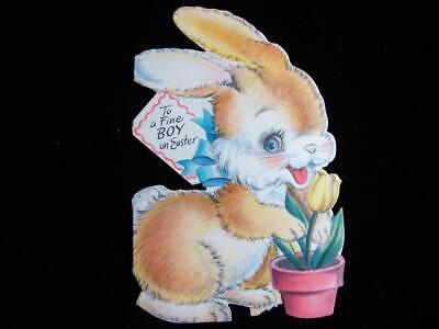 """VINTAGE """"BUNNY PLANTING HIS TULIPS!!"""" EASTER GREETING CARD"""