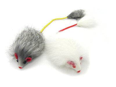 Real Rabbit Fur Long Hair Mouse with elastic tail Cat Toy - 2pk Fur Mouse Toy